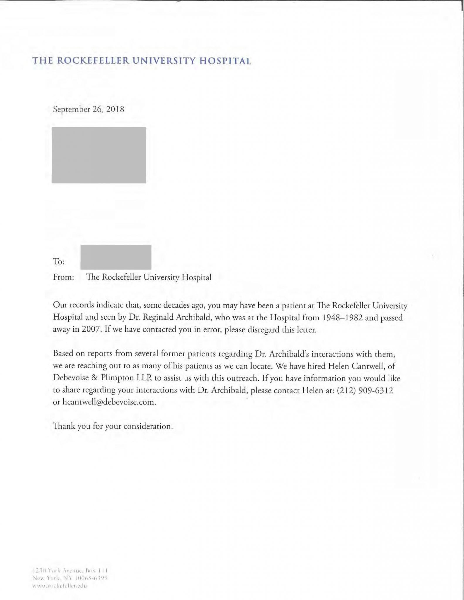Rockefeller University Hospital letter regarding Reginald Archibald